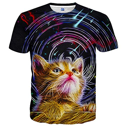 3D Graphic Colourful T-Shirts Short Sleeve Crew Neck Print T-Shirt for Men Women and Youngs - - L