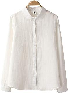 ZUOMA秋冬 新番 合わせやすい 日系 清新 スプライス 透かし彫り スタンドカラー 長袖 シャツ 白いシャツ