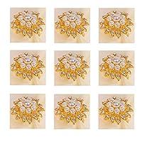 ナプキンリング メタルラインストーンナプキンリングナプキンボタンホテルウェディングバンケットファミリーパーティーコモディティナプキンリング(金と銀) ナプキンリングホルダー (Color : A)