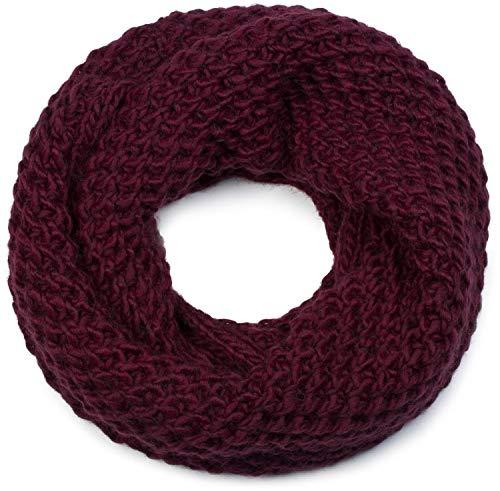 styleBREAKER Unisex Strick Loop Schal grob gestrickt, Uni Schlauchschal, Winter Strickschal 01018157, Farbe:Bordeaux-Rot