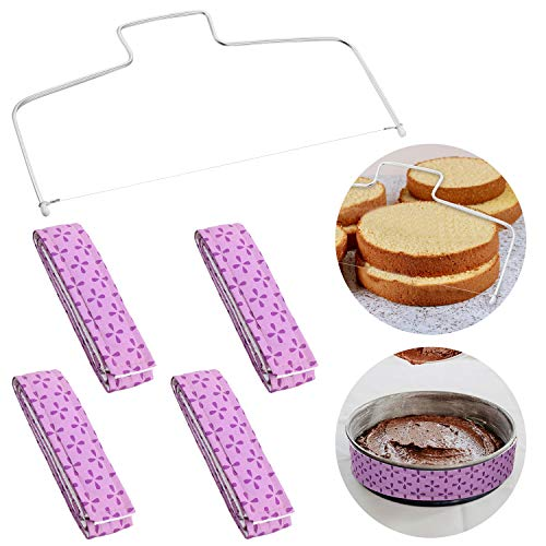 5 Pieces Baking Supplies Including 4 Pieces Cake Pan Strips and Cake Leveler, Thick Cotton Pan Cooling Belt Bake Even Cake Strip and Wire Cutter for Making Cake More Level and Cleaner Edges