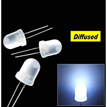 50 ° 50 Piece LEDs//LED//5mm White 800mcd diffuse//Beam angle approx