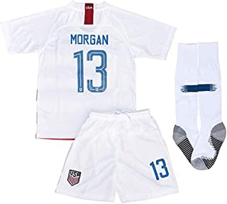 New #13 USA Soccer Morgan 2018/2019 Kids/Youths Home Jersey & Shorts Color White (6-13years)