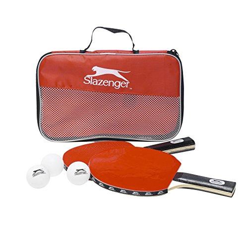 Slazenger Unisex– Erwachsene Tischtennis-Set 6tlg Tischtennisschläger 2 Schläger 225418, rot,