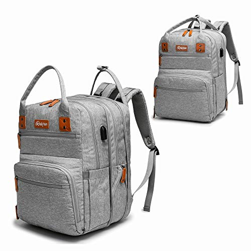Diaper Bag Backpack, Rabjen Transformable Baby Bag, Spacious Enough for Twins' Stuff, Multifunction Maternity Travel Expandable Back Pack for Men and Women