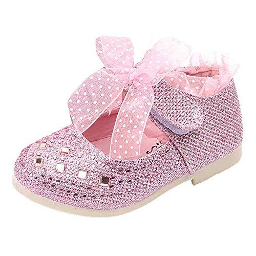 LuckyGirls Kind Schuhe mädchen tanzen Schuhe Baby Prinzessin Schuhe Kind Spitze Diamanten Leder Baby Shoes (12-18Monate, pink)