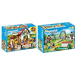 Product 1: Fun for little horse fans: Playmobil Pony Farm with animals, stables, outdoor enclosures and other accessories for detailed re-enactments Product 1: 3 figures, 3 horses, 2 lockable stables, flexible fence, etc., can be combined with Playmo...