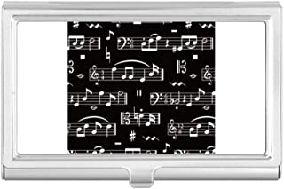 DIYthinker White Music Notes Bar Black Business Card Holder Case Wallet