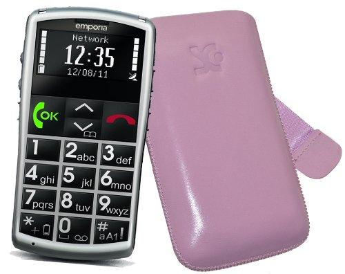 Original Suncase Tasche für / Emporia Talk Comfort / Emporia Talk Comfort Plus / Emporia Talk Basic / Leder Etui Handytasche Ledertasche Schutzhülle Hülle Hülle *Lasche mit Rückzugfunktion* in rosa