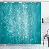 Ambesonne Turquoise Shower Curtain, Blur Meadow Grass Plant Herb in Countryside Rural Mystical Seasonal Picture, Cloth Fabric Bathroom Decor Set with Hooks, 84' Long Extra, Blue