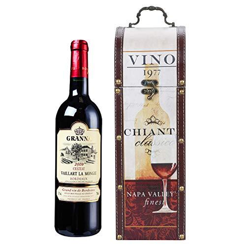 Geschenktasche PU Leder Weinbox Geschenkbox Tragbare Weinkiste Rotwein Holzbox Wein Sekt Champagner Tragetasche Weinflasche Verpackungsbox Weingeschenk Verpackungsbox für Hochzeit Party Weihnachten