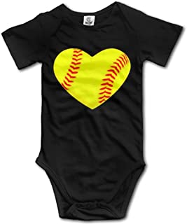 I Love Softball Heart Newborn Babys Boy's & Girl's Short Sleeve Jumpsuit Outfits for 0-24 Months Black