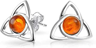 Irish Triquetra Celtic Trinity Knot Tiny Orange Amber Stud Earrings For Women 925 Sterling Silver Polished Finish (13MM)