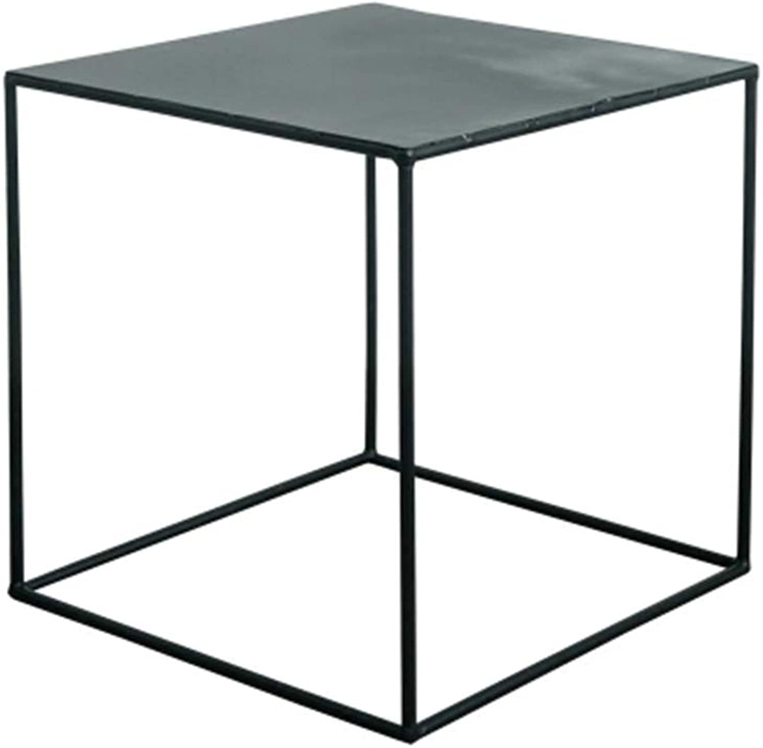 Coffee Table Simple Modern Square Small Side Table Living Room Outdoor Corner Indoor Practical Metal Frame Tea Table