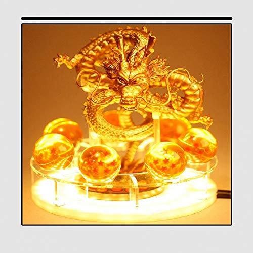 Dragon Ball Z Son Goku für kreative mit Tischlampe LED Nachtlicht Geschenke Lampe Zimmer Tischlampen Home Decoration DIY Kristallkugel-Anwendbar auf Weihnachtsgeschenke-w, Golden Dragon