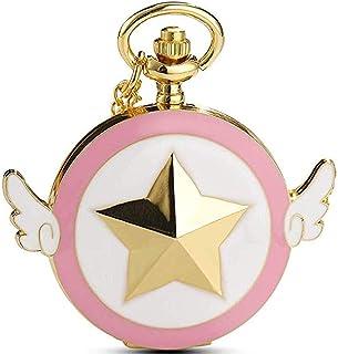 ساعت جیبی طلایی Cosplay Sailor Moon با آویز گردنبند زنجیری برای کودکان دختر بچه ها (طلایی