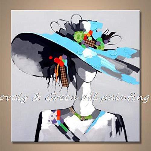 SHYHSCLBD olieverfschilderij op canvas, modern en mooi, strohoed voor dames, blauwe hoed Astratta minimalistisch, modern, voor het ophangen van foto's illustratie groen 100×100cm