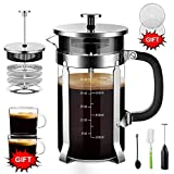 Upgraded French Press Coffee Maker Stainless Steel 34 oz, Coffee Press with Stainless Steel Stand Precise Scale Easy to Clean Durable Heat Resistant Glass Black/Copper/Silver (Silver, 34 OZ)