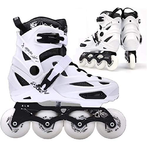 PLAYH Patins em linha confortáveis e respiráveis à prova de choque patins ajustáveis com rodas de poliuretano para adultos (cor: branco, tamanho: 35-39)