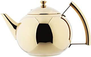 OMGard Tea Pot with Infuser Loose Tea Leaf Filter 1.5 Liter Stainless Steel Teapot Coffee Water Small Kettle Strainer Set Gold Warmer Teakettle for Stovetop Induction Stove Top 1.6 Quart / 51 Ounce