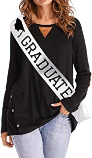 Blingbling Graduate Sash - White Satin with Black Fonts - Commencement Ceremony, High School Graduation, College Graduate 2018 2019 Decorations Party Supplies