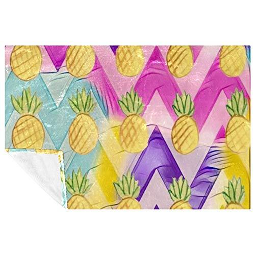 BestIdeas Manta suave y cálida con estampado de piña en arco iris de color cheurón para cama, sofá, picnic, camping, playa, 150 x 100 cm