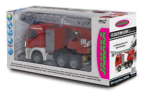RC Auto kaufen Feuerwehr Bild 6: Jamara 404960 - Feuerwehr Drehleiter 1:20 Mercedes Antos 2,4G – deutsche Sirene mit blauen LED Signallichtern, 420 ml Wasserbehälter, reale Spritzfunktion, programmierbare Funktionen, 4 Radantrieb*