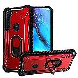 HR Wireless for Motorola Moto G Stylus Jacket Design Ring Magnetic Kickstand Case Cover - Red