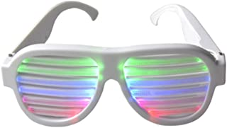 Light Up Shutter Glasses by Glowseen - Sound Reactive - USB Rechargeable Rave Glasses - White