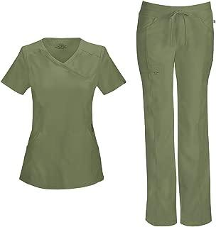 Cherokee Infinity Women's Mock Wrap Scrub Top 2625A & Low Rise Drawstring Scrub Pants 1123A Scrubs Set (Olive - XX-Small/XSmall Tall)