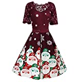 Iusun Women's Hepburn Vintage A-Line Dress Christmas Series Short Sleeve Lace Printing Lady Hollow Gown