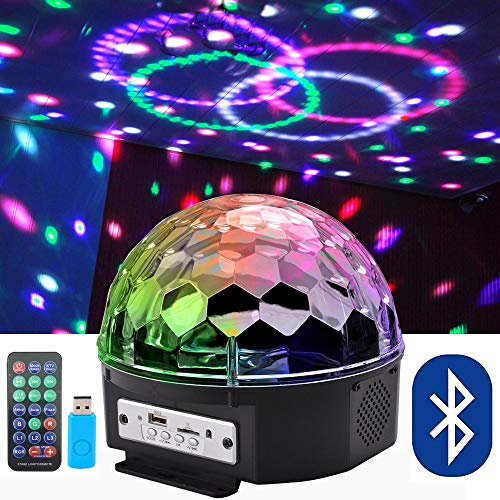 Bluetooth Speaker 8.6-Inch Crystal Super LED Strobe Bulb Multi Changing Color Crystal Stage Light, Wireless Speaker with Party Dance Light Aux Input TF Card Music Player Magic Ball