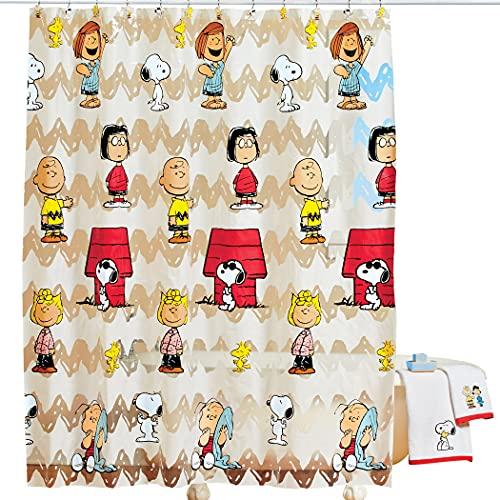 Jay Franco & Sons Peanuts Snoopy & Friends Bathroom Shower Curtain