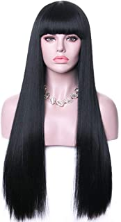 """Rosa Star 26""""Long Straight Hair Wigs Natural Black Wig with Bangs Synthetic Full Wig for Women (1B)"""