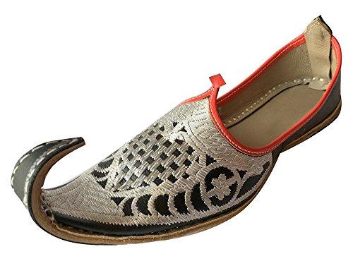 Step n Style Herren Flip-Flops, handgefertigt, Leder, Jutti, Mojari, Punjabi, Aladdin, Khussa, Silber - silber - Größe: 42.5 EU