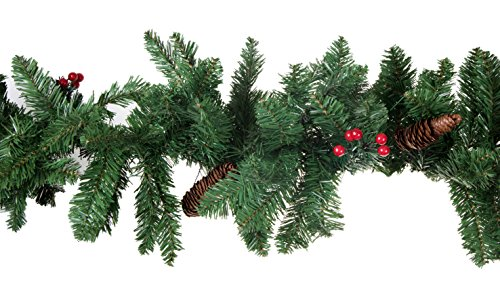Christmas Tree Branch Garland by Clever Creations | Festive Holiday Decor | Realistic Pine Branches With Pine Cones and Red Holly Berries | Posebale | Realistic Look| 9' Long