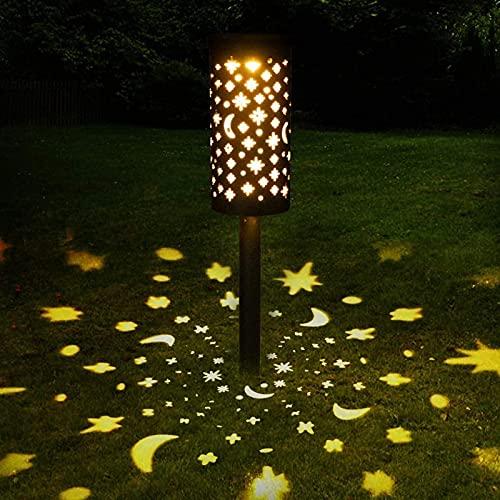 Luces solares para camino, farolillos solares para colgar luces solares de estrella, luna, luces solares de paisaje, impermeables, para patio, patio, patio, camino, pasarela, Navidad