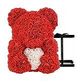 AZXU Ours en Peluche Rose sur Chaque Ourson Parfait pour Anniversaire de Mariage Boîte Cadeau Transparente Incluse 30,5 cm. Rouge