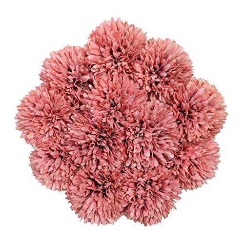 Tifuly Flores de Hortensia Artificial, 12 Piezas de crisantemo de Seda pequeña Bola de Flores para la decoración de la Oficina del jardín del hogar, Ramos de Novia, arreglos Florales(Rosado)