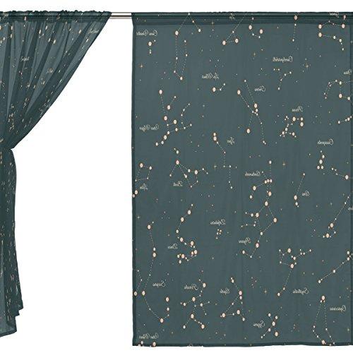 Jstel 2 pcs Voile Rideau de fenêtre, 12 Constellation Universe Galaxy Espace étoiles, tulle Sheer Rideau Drape Lit 139,7 x 198,1 cm Ensemble de deux Panneaux, Polyester, bleu, 55x84x2(in)