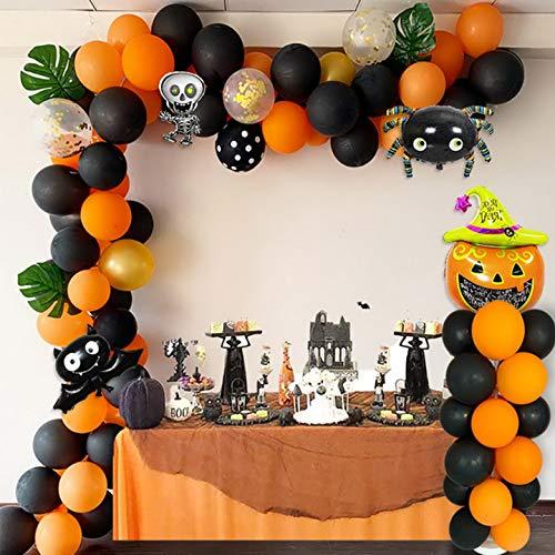 Kwayi Halloween Balloon Garland Decoration, Black Orange Balloon Garland Arch Kit with Spider Skeleton Bat Pumpkin Foil Balloon Totally 119PCS For Halloween Party Decoration