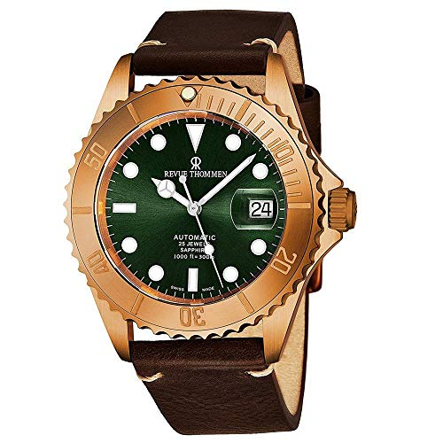 Revue Thommen Men's 17571.2594 'Diver' Green Dial Brown Leather Strap Bronze/Steel Automatic Watch