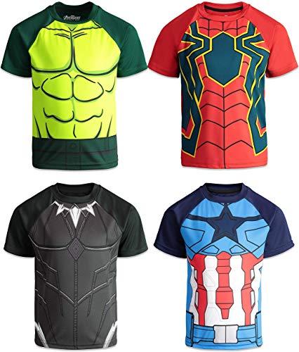 Pacote com 4 camisetas masculinas Vingadores da Marvel, Pantera Negra, Hulk, Homem-Aranha, Capitão América, Black Panther, Hulk, Captain America & Spiderman, 2T