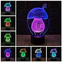 カワイイ3DLEDランプマッシュルームUSBナイトライトミックスカラームードキッドおもちゃフェードRGB照明電球キッズおもちゃタッチテーブルデスク真菌