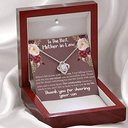 Sterling Silver Chain Gifts Jewelry For Women Her Accessories Letter-Celtic Knot Necklace Mahogany With Light,To The Best Mother In Law Thank You For Sharing Your Son
