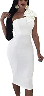 4ebaf7be56a Mokoru Women s Sexy Ruffle One Shoulder Sleeveless Bodycon Party Club Midi  Dress