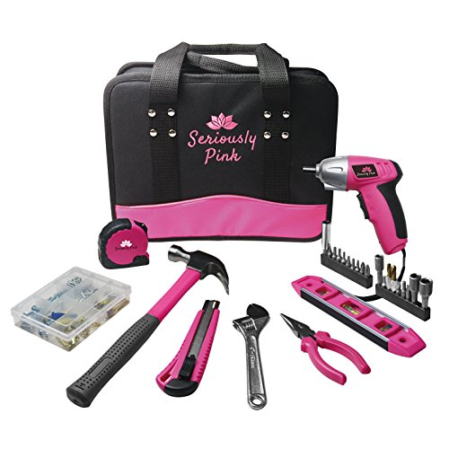 Woman's tool kit with drill and pink tools image