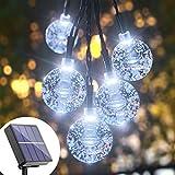 Solar String Lights Globe Waterproof - White 36FT 60 Crystal Balls Solar Outdoor String Lights Solar Powered Starry Lights 8 Mode LED Fairy Light Strings for Garden, Patio, Gazebo, Yard, Party, Decor