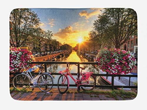 ABAKUHAUS Amsterdam Tappetino da Bagno, Alba sopra la Città, Vasca Doccia WC Tappeto in Peluche con Supporto Antiscivolo, 45 cm x 75 cm, Multicolore