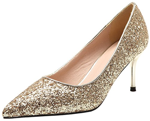 Unbekannt Hochzeit Pumps Bling Pailletten High Heels Stiletto Top Spitze Kleid Pumps von Bigtree Gold 39 EU